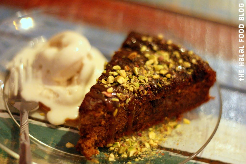 Sticky Date Pudding with Ice-cream and Pistachios