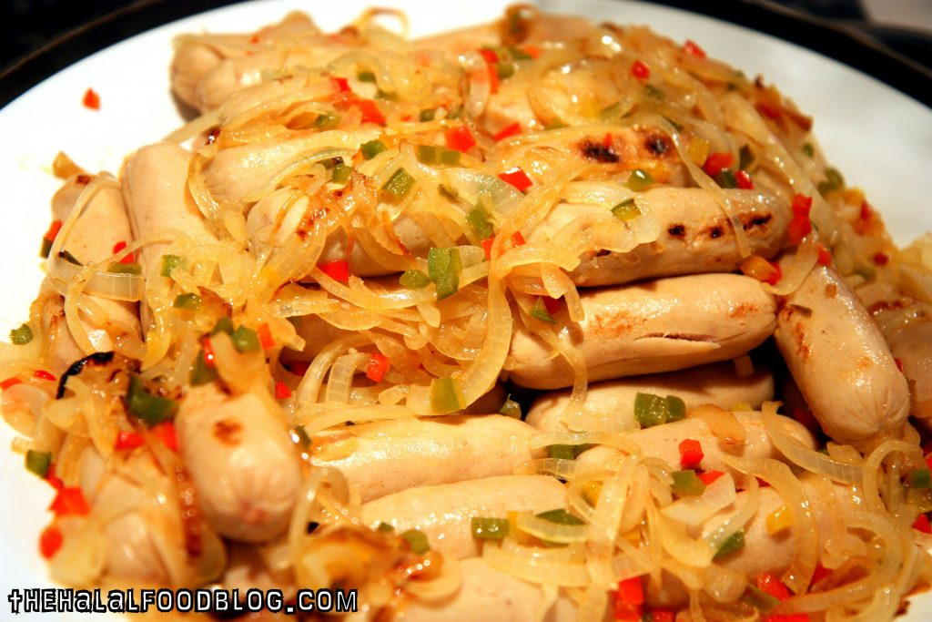 Chicken Sausages with Onions