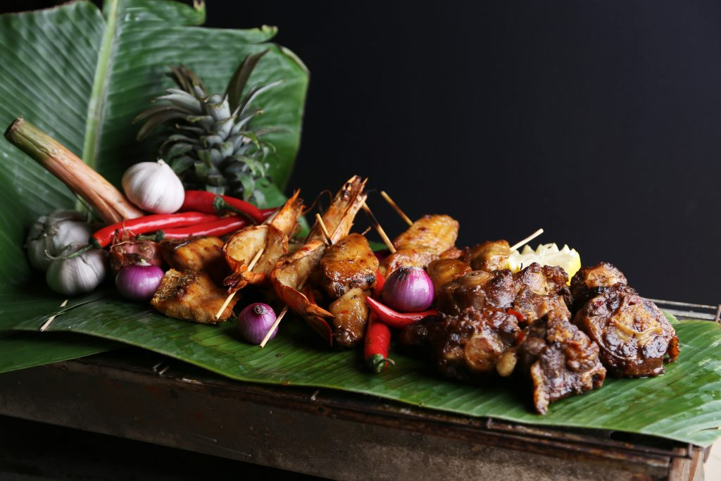 Bakar Station- Chicken, Oxtail, Prawn and Seabass in Banana Leave